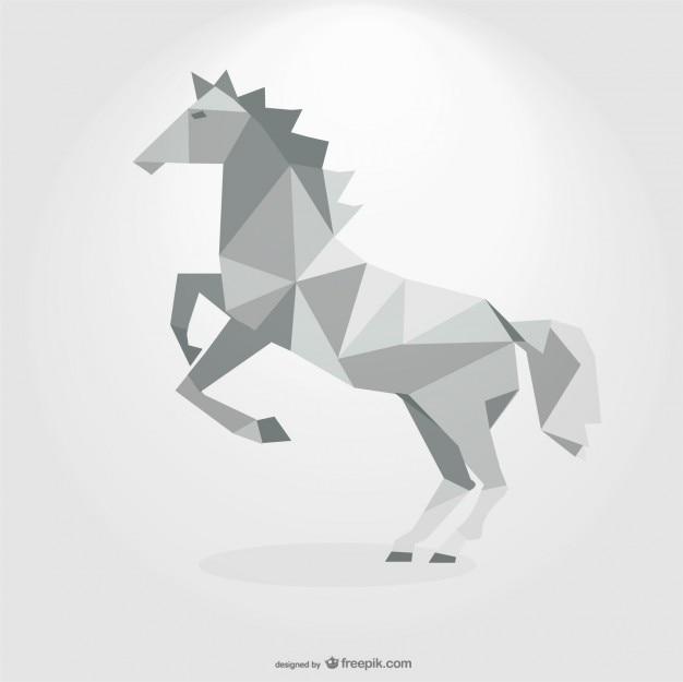 Polygonal grey horse geometric triangle design