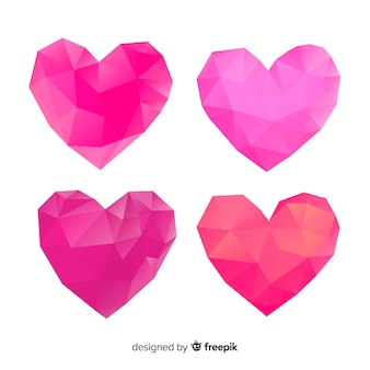 Polygonal heart set
