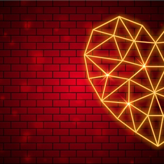 Polygonal heart shape with neon lighting effect on brown brick w