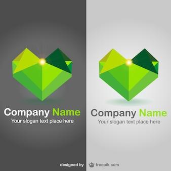 Polygonal heart shaped logos Free Vector