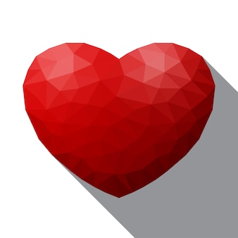 Polygonal heart vector illustration, geometric sign of valentines day