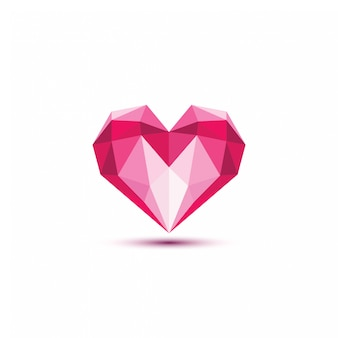 Polygonal heart vector illustration.