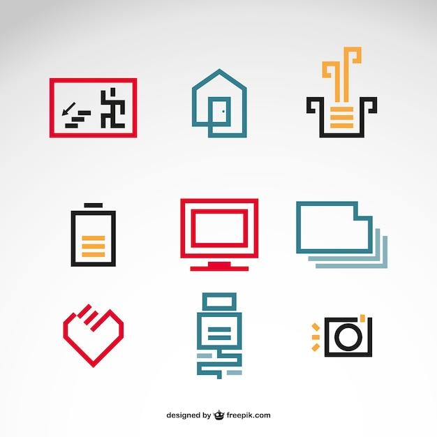 Polygonal house life icons