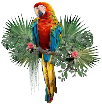 Polygonal illustrate drawing of harlequin macaw bird with amazon forest plants