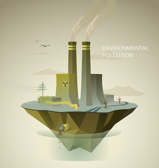 Polygonal illustration of air and water pollution