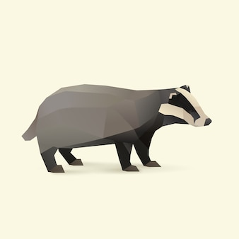 Polygonal illustration of badger, isolated with shadow