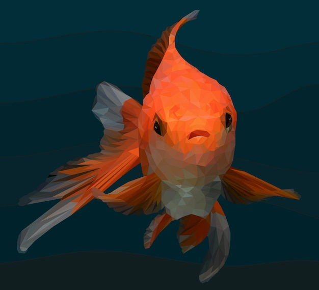 Polygonal illustration of gold fish