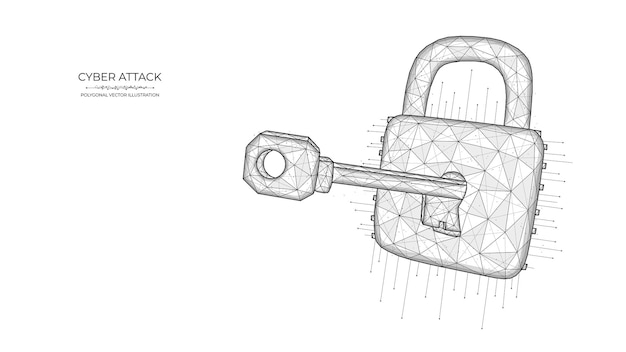 Polygonal illustration of a key and lock on a blue background. cyber attack or data hacking concept.