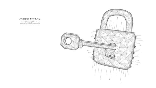 파란색 배경에 열쇠와 자물쇠의 다각형 그림. 사이버 공격 또는 데이터 해킹 개념.