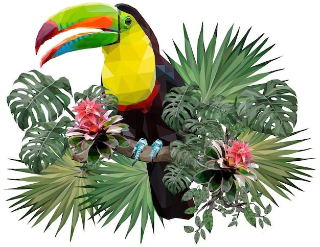 큰 부리 새 조류와 아마존 숲 식물의 다각형 그림
