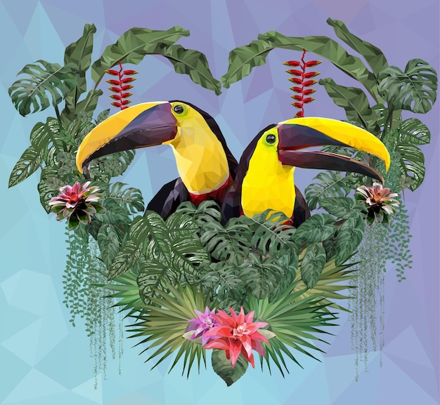 Polygonal illustration toucan bird and amazon forest plants in love concept.