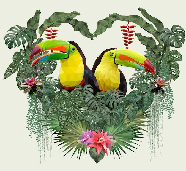 Polygonal illustration toucan bird and amazon forrest plants in love concept.