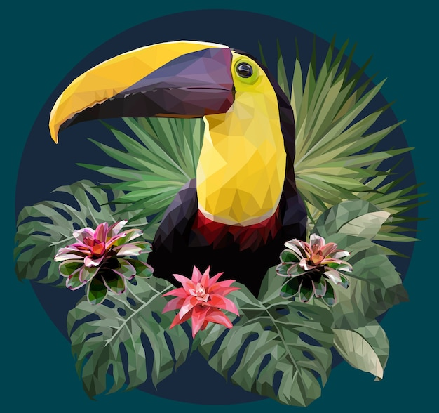 Polygonal illustration toucan bird and amazon forrest plants.