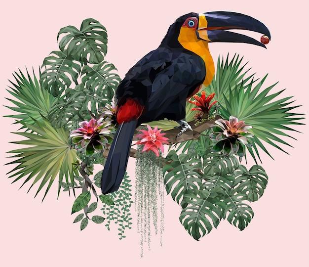Полигональные иллюстрации птица тукан и лесные растения амазонки.