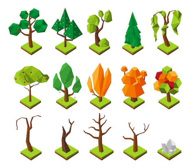 Polygonal isometric trees. low poly trees without foliage, 3d summer and autumn forest elements