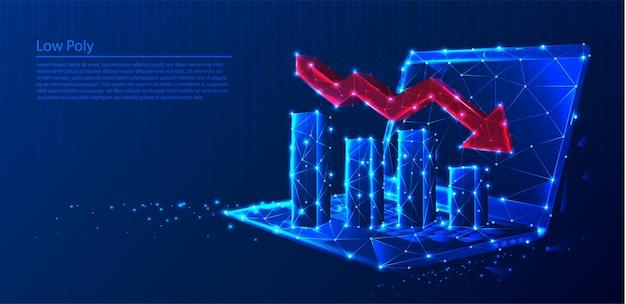 Многоугольный ноутбук с диаграммами роста и уменьшающейся красной стрелкой на темно-синем техническом фоне, треугольниках и дизайне в стиле частиц.
