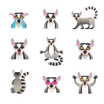 Polygonal lemur icon set