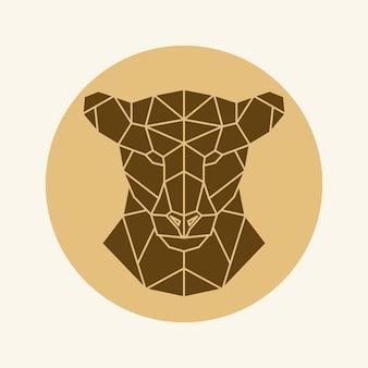 多角形の雌ライオンの頭