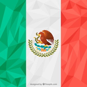 Polygonal mexican flag background Free Vector