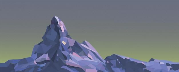 다각형 산 일출