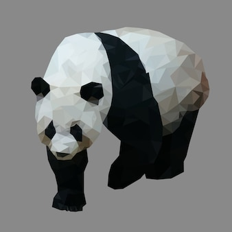 Polygonal panda, polygon geometric animal, isolated vector