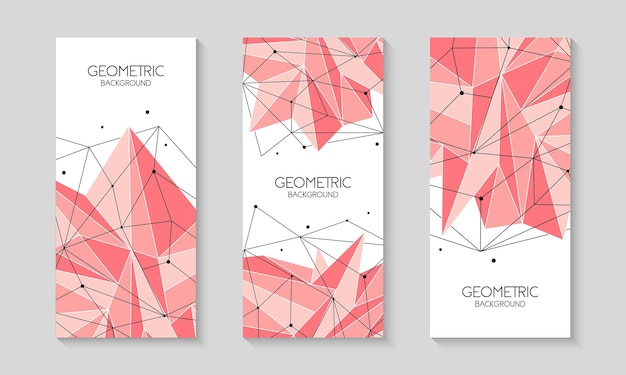 Polygonal pink abstract futuristic template low poly sign  brochure template cover layout