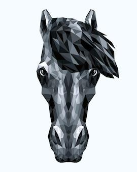 Полигональный портрет черного коня. векторная иллюстрация геометрических животных