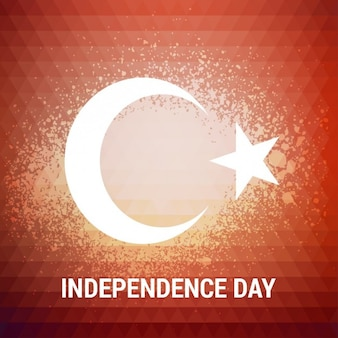 Polygonal red background with the symbol of turkey