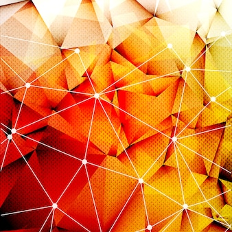 Polygonal red orange triangles techno textured background