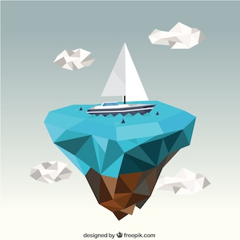 Polygonal sea and a boat