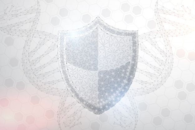 Polygonal security shield and dna abstract image, isolated background.