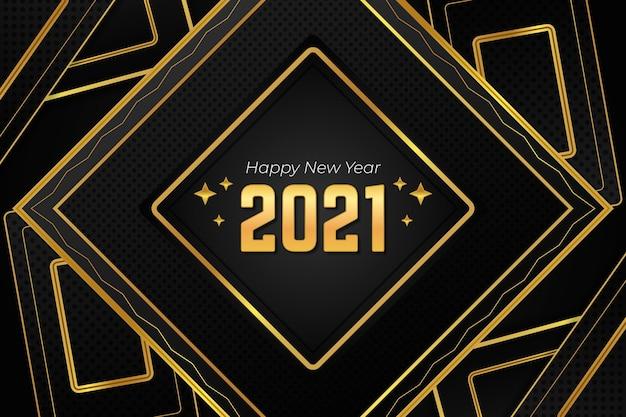 多角形の形黄金の新年あけましておめでとうございます2021