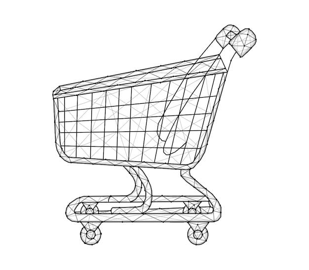 다각형 쇼핑 카트 벡터 일러스트 레이 션 흰색 배경에 고립.