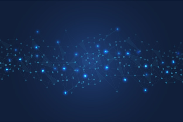 Polygonal space background with connecting dots and lines