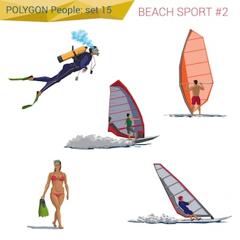 Polygonal style beach people walking set illustrations.