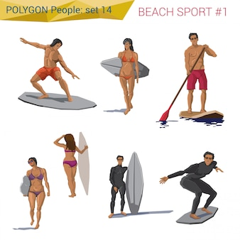Polygonal style beach water sports people set illustrations.