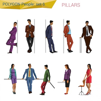 Polygonal style people at pillar set illustrations.