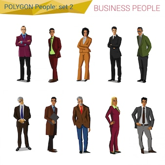 Polygonal style standing business people set illustrations.