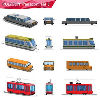 Polygonal style vehicles set illustrations.
