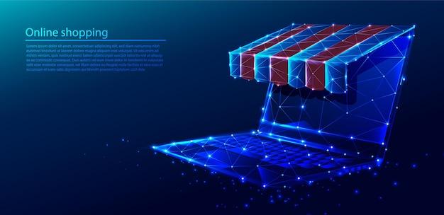ショップルーフ付きオンラインショッピングコンセプトコンピュータの多角形技術の背景