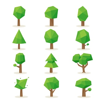 Polygonal trees set. design nature, environment green, plant natural