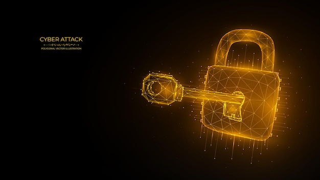 Polygonal vector illustration of a key and lock cyber attack or data hacking concept