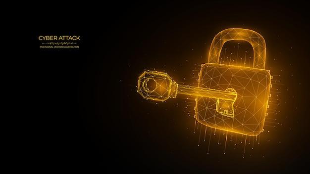 키 및 잠금 사이버 공격 또는 데이터 해킹 개념의 다각형 벡터 일러스트 레이 션