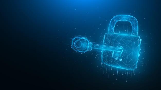 Полигональные векторные иллюстрации концепции кибератаки или взлома данных с ключом и замком