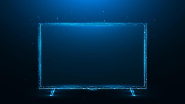 진한 파란색 배경에 led 또는 lcd tv의 다각형 벡터 일러스트 레이 션
