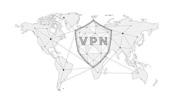 Vpn 및 세계 지도가 있는 가상 사설망 방패의 다각형 벡터 그림