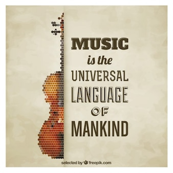 Polygonal Violin Quote Poster