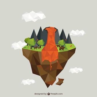 Polygonal volcano erupting