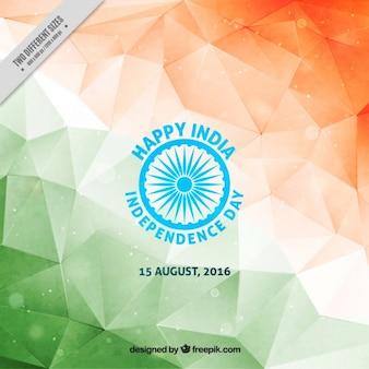 인도의 다각형 수채화 배경 독립 기념일