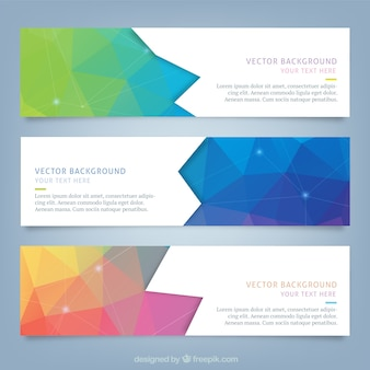 Polygonal web banner set